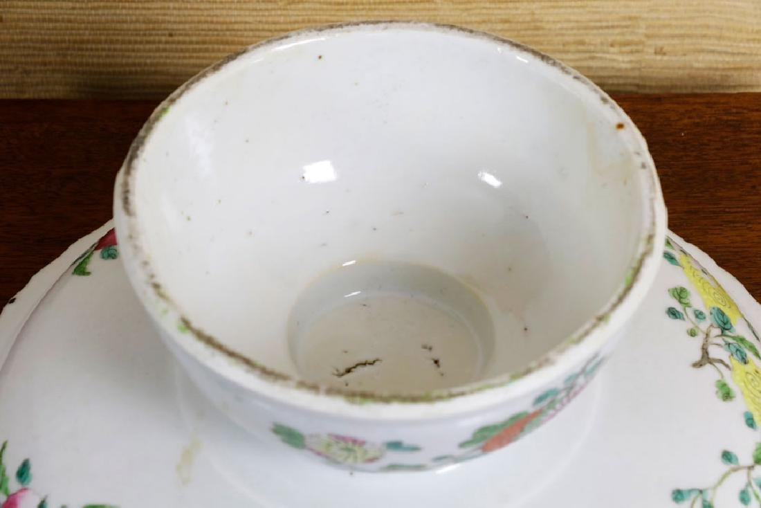 19th C. Chinese Polychrome Porcelain Tazza - 5