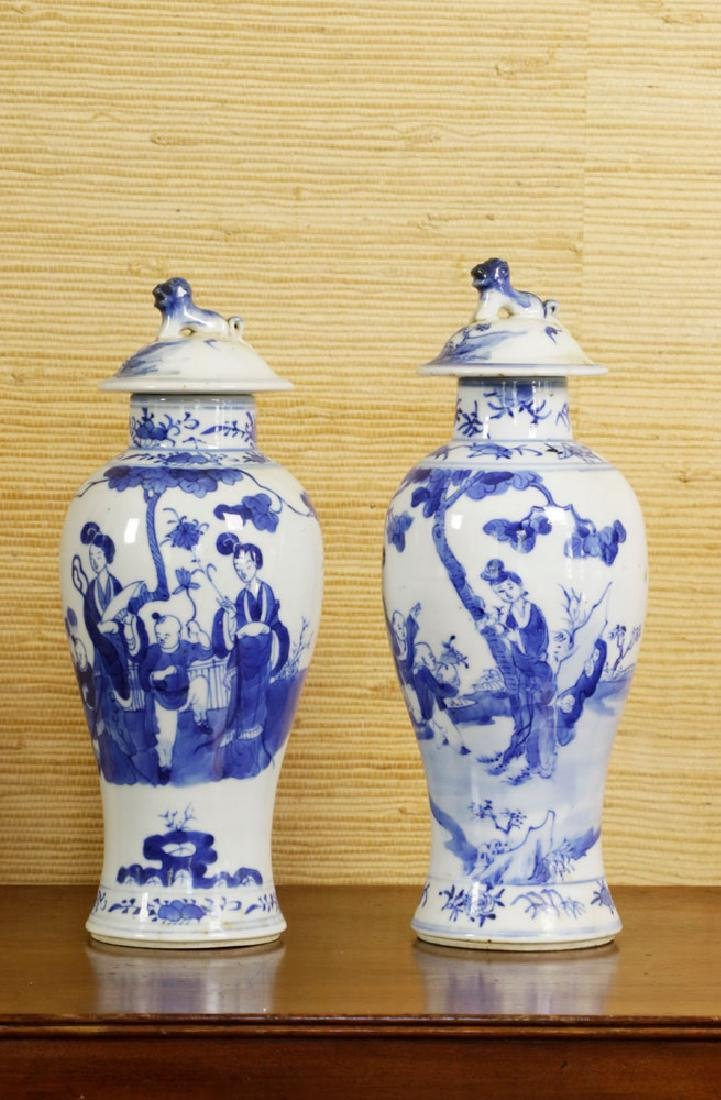 Pr of 19th C. Chinese Covered Blue & White Vases