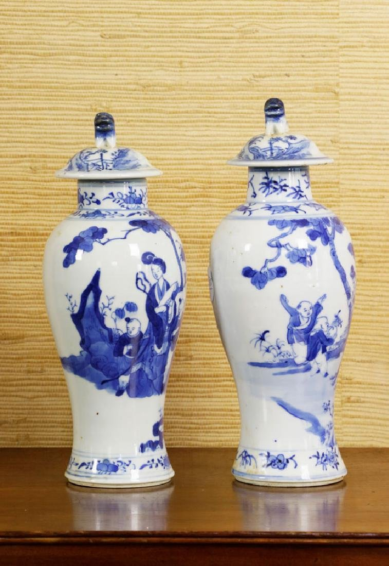 Pr of 19th C. Chinese Covered Blue & White Vases - 2