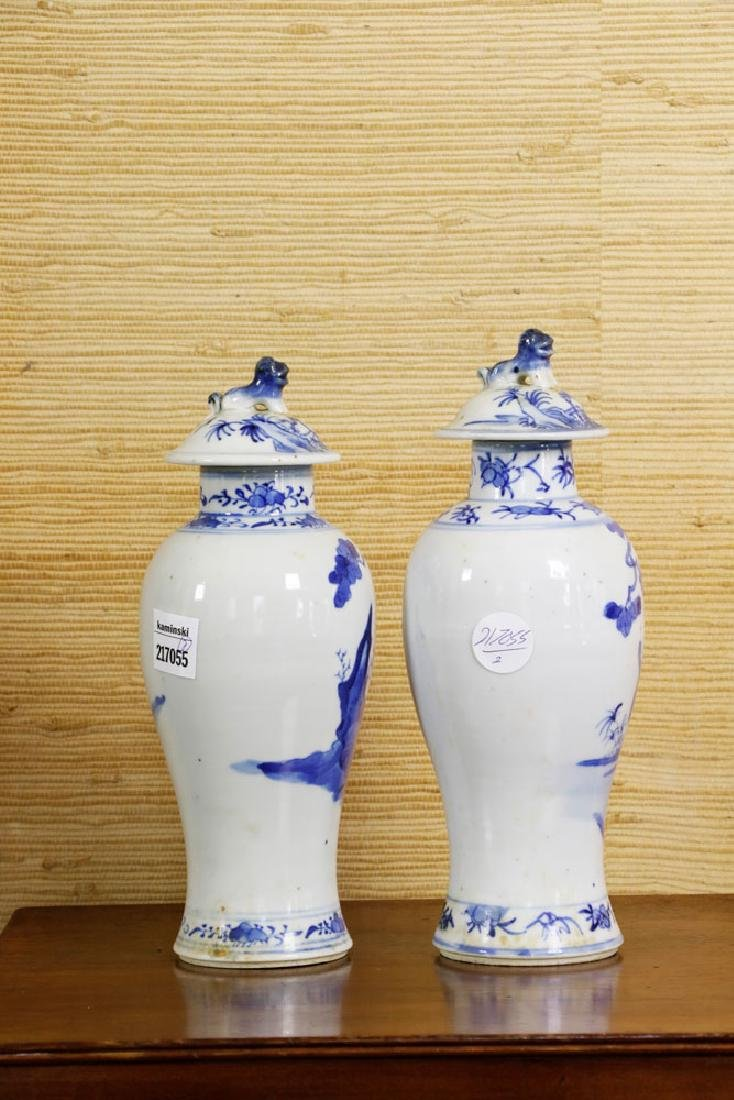 Pr of 19th C. Chinese Covered Blue & White Vases - 3