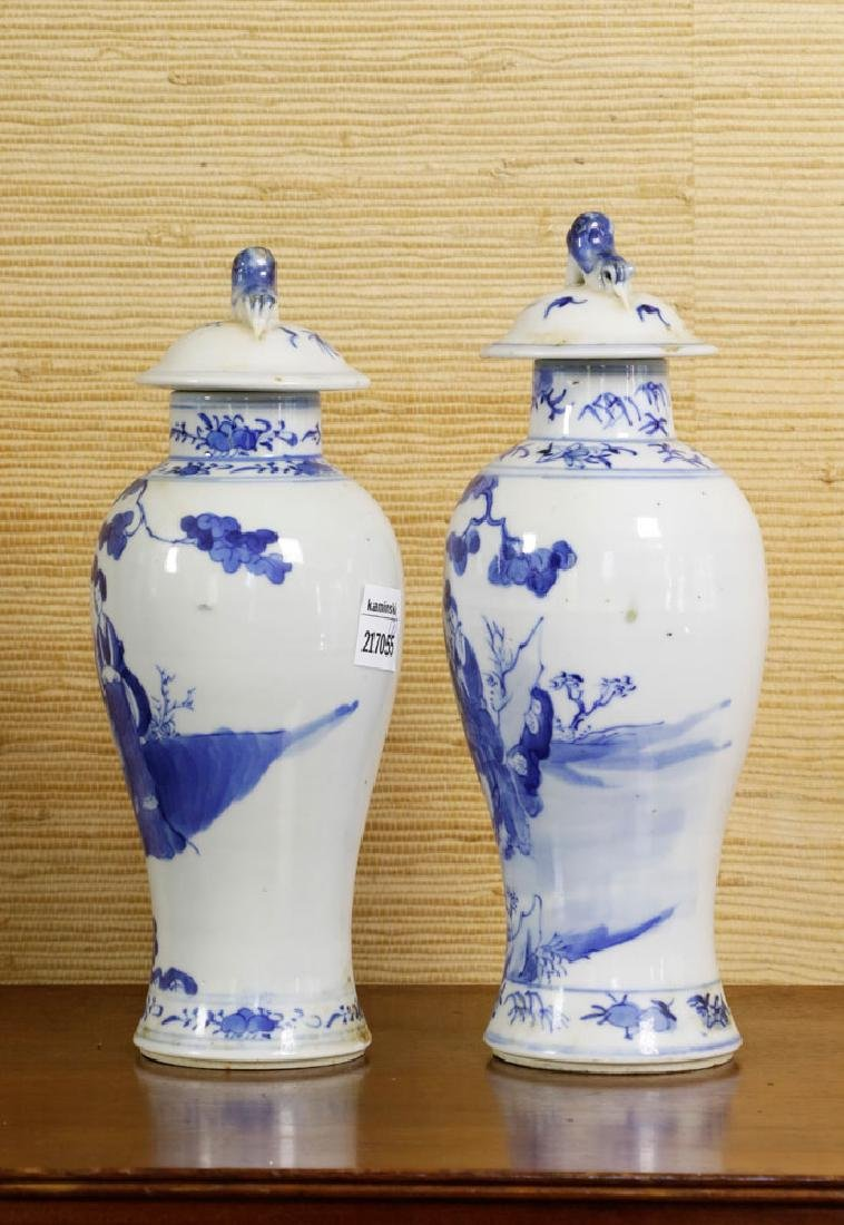 Pr of 19th C. Chinese Covered Blue & White Vases - 4