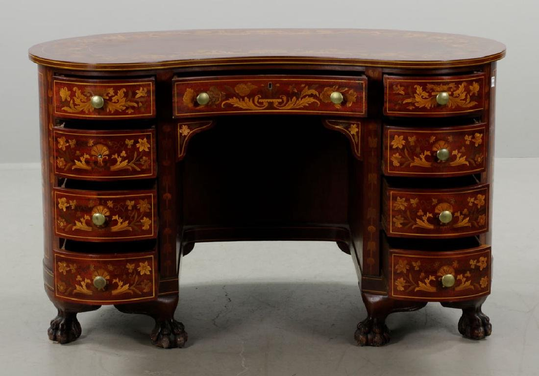 Antique Kidney Shaped Inlaid Writing Desk - 2