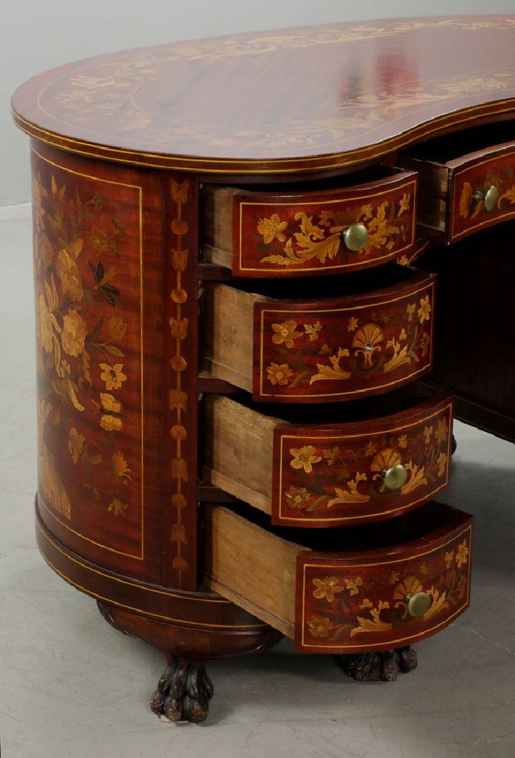 Antique Kidney Shaped Inlaid Writing Desk - 3