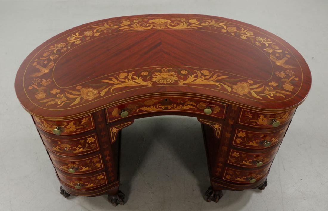 Antique Kidney Shaped Inlaid Writing Desk - 4