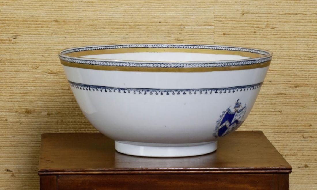 19th C. Chinese Export Porcelain Punch Bowl