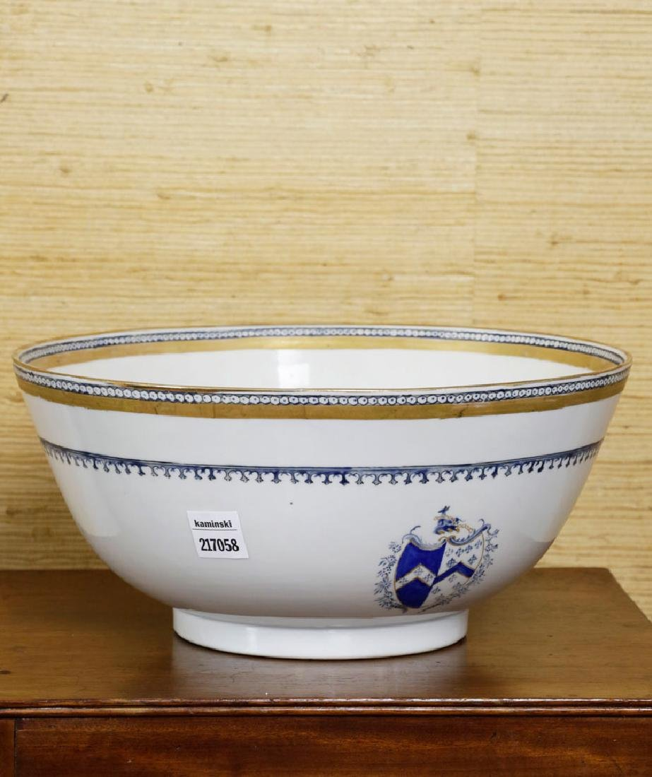 19th C. Chinese Export Porcelain Punch Bowl - 3