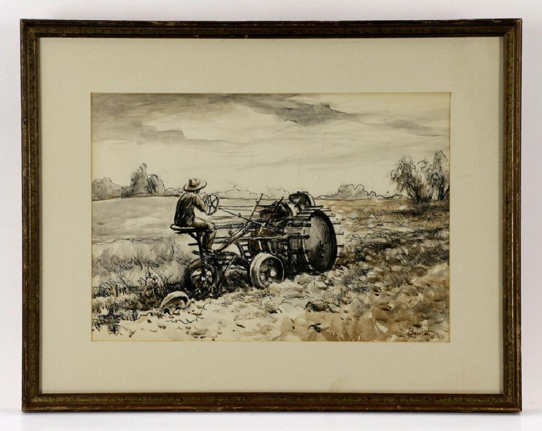 Thomas Benton, Plowing the Fields, Watercolor Drawing