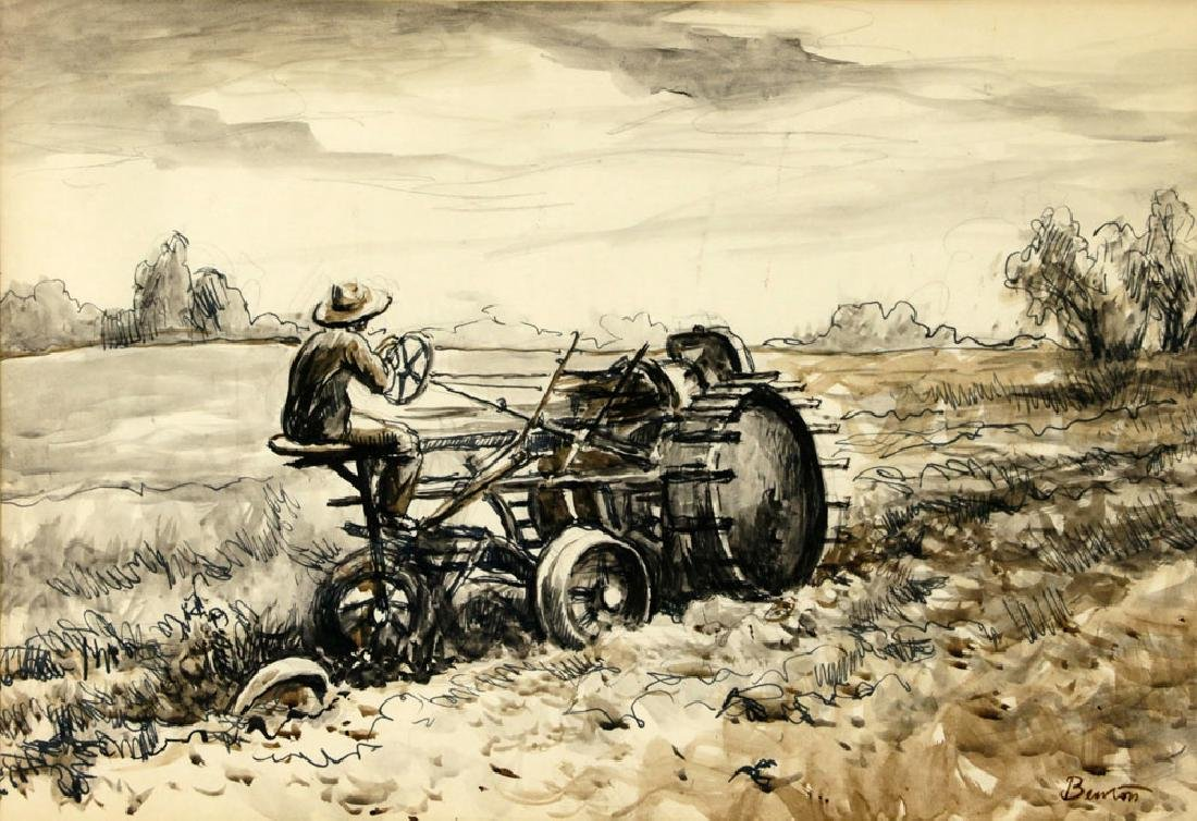 Thomas Benton, Plowing the Fields, Watercolor Drawing - 2