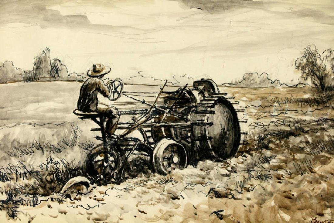 Thomas Benton, Plowing the Fields, Watercolor Drawing - 3