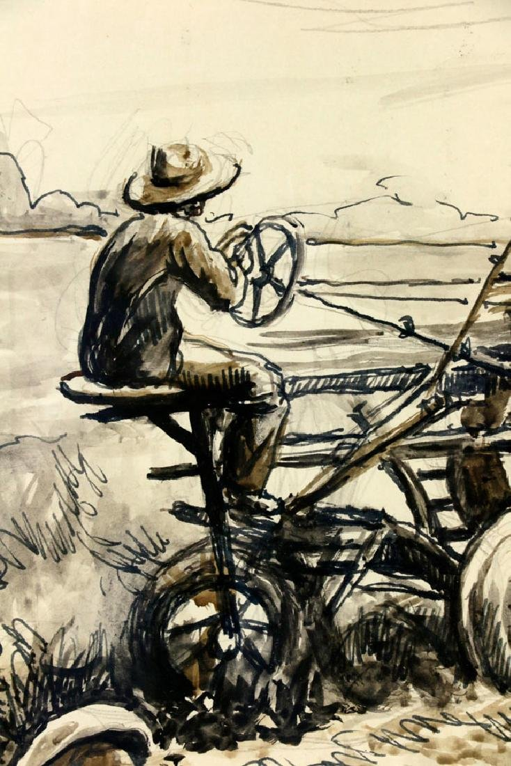 Thomas Benton, Plowing the Fields, Watercolor Drawing - 4