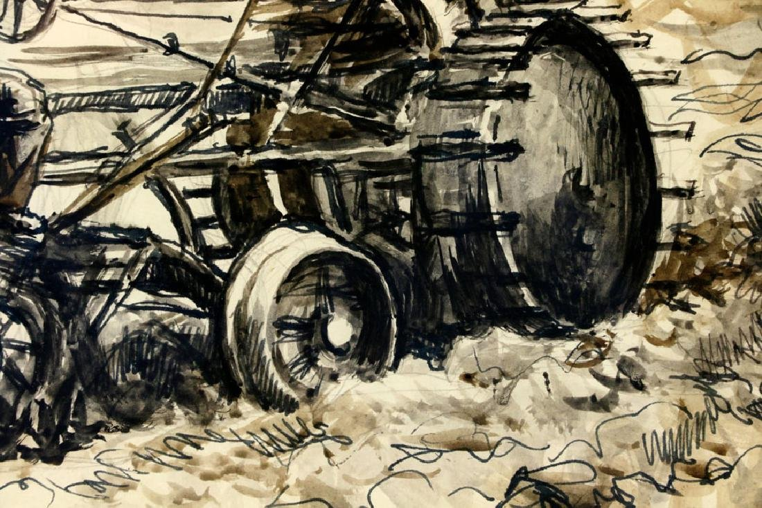 Thomas Benton, Plowing the Fields, Watercolor Drawing - 6