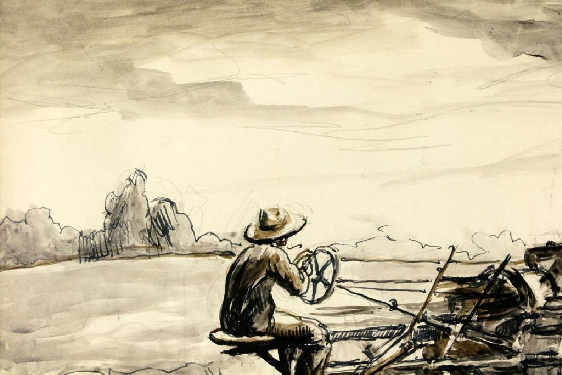 Thomas Benton, Plowing the Fields, Watercolor Drawing - 8