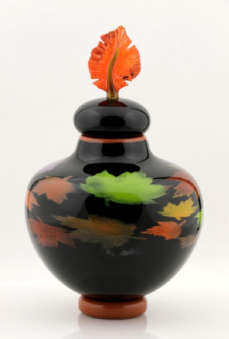 20th C. Bernard Katz Hand Blown Vase, Autumn Leaf