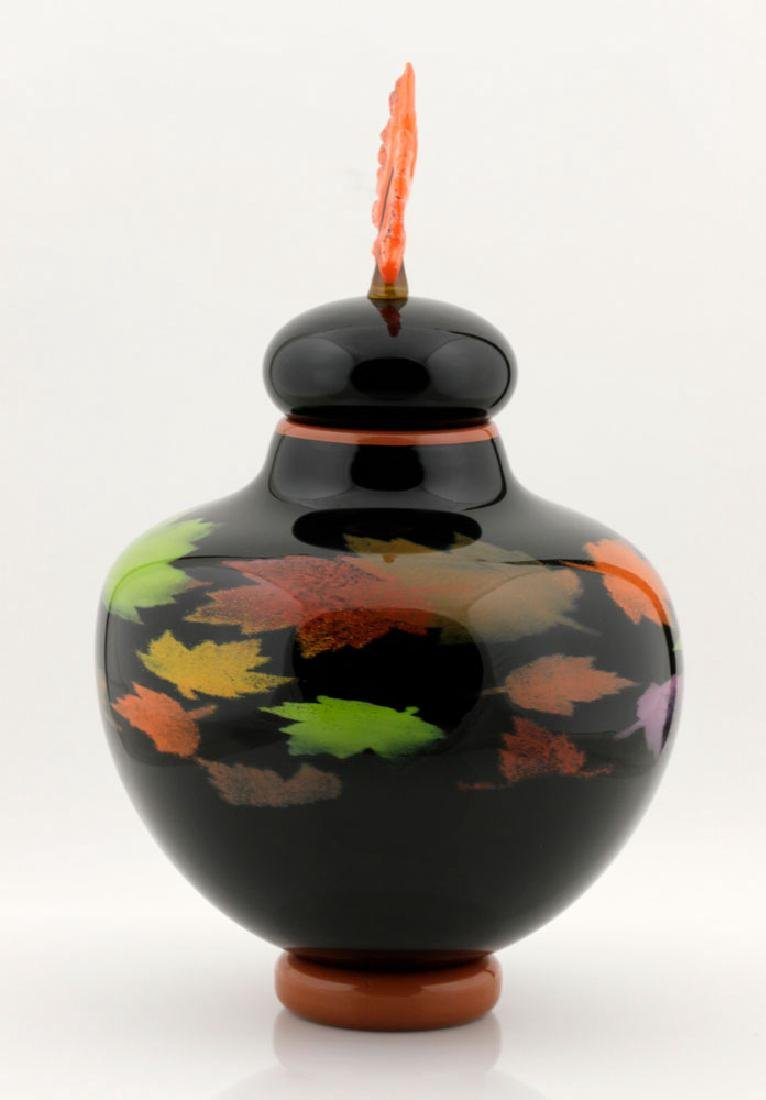 20th C. Bernard Katz Hand Blown Vase, Autumn Leaf - 2