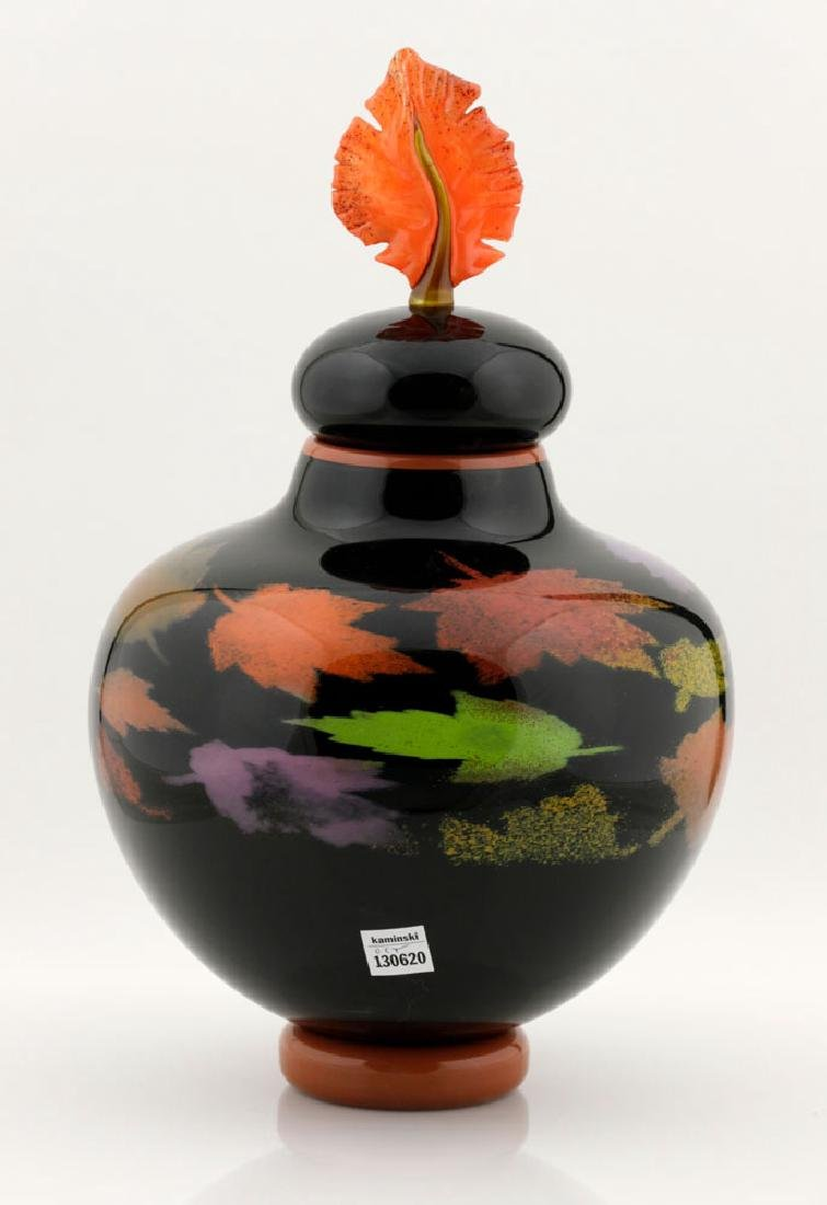 20th C. Bernard Katz Hand Blown Vase, Autumn Leaf - 3