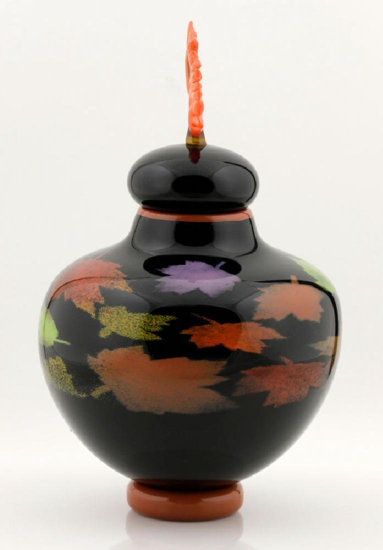20th C. Bernard Katz Hand Blown Vase, Autumn Leaf - 4
