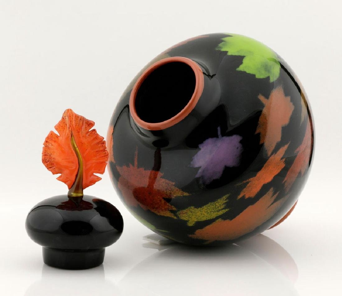 20th C. Bernard Katz Hand Blown Vase, Autumn Leaf - 5