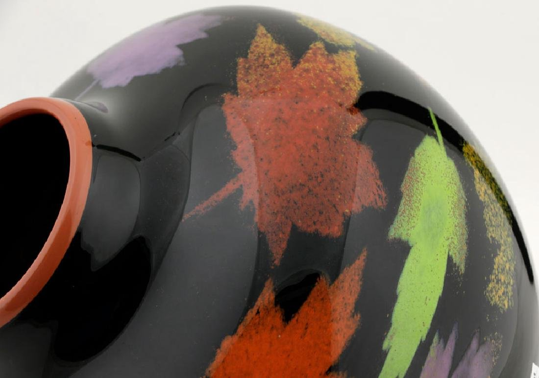 20th C. Bernard Katz Hand Blown Vase, Autumn Leaf - 8