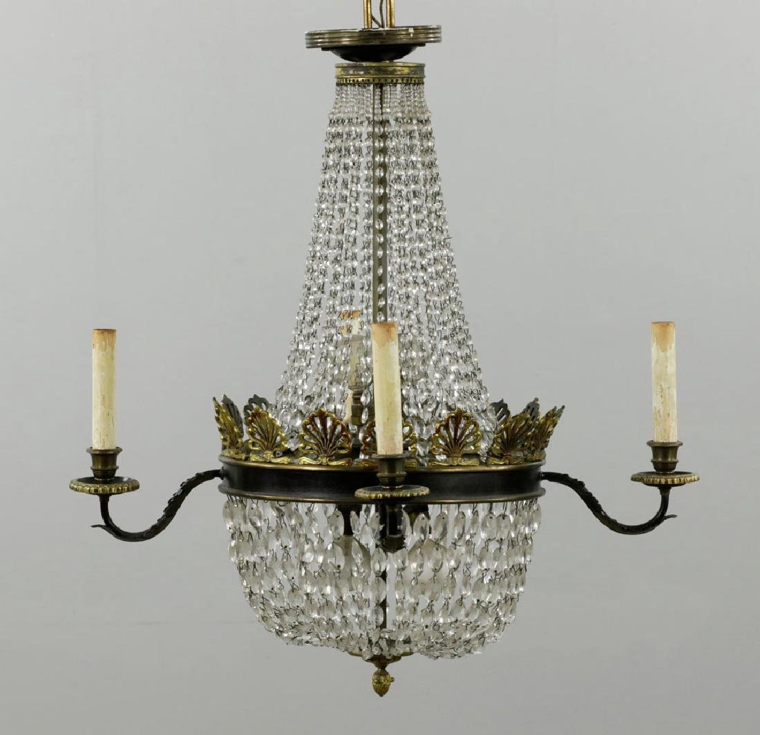 French Empire Style Brass & Crystal Chandelier