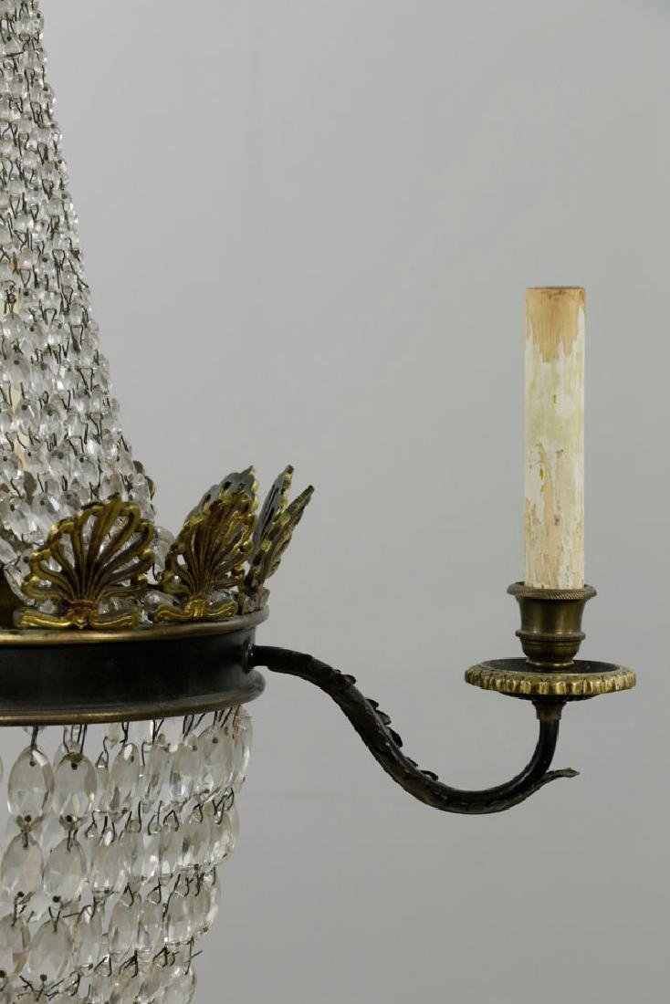 French Empire Style Brass & Crystal Chandelier - 2