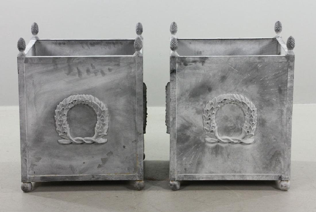 Pr of Steel Square Urns w/ Pine Cone Finials