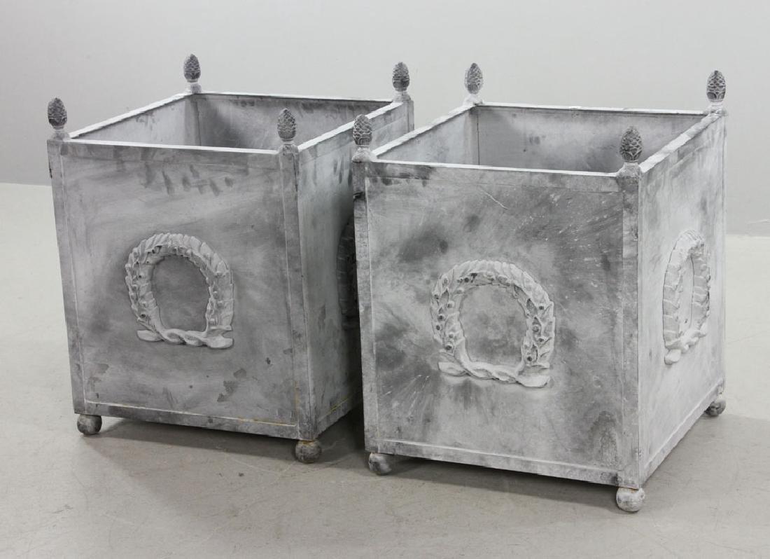 Pr of Steel Square Urns w/ Pine Cone Finials - 3