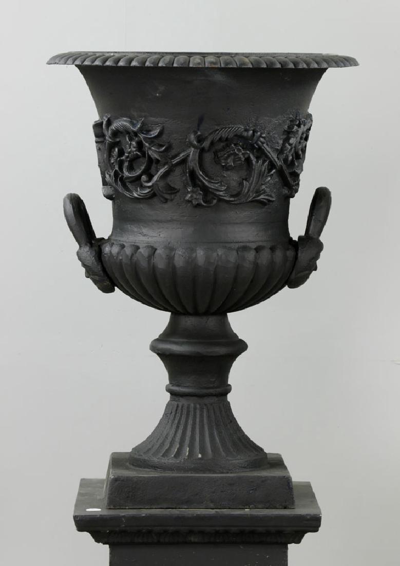 Pr of Classical Cast Iron Urns on Pedestals, Black - 2