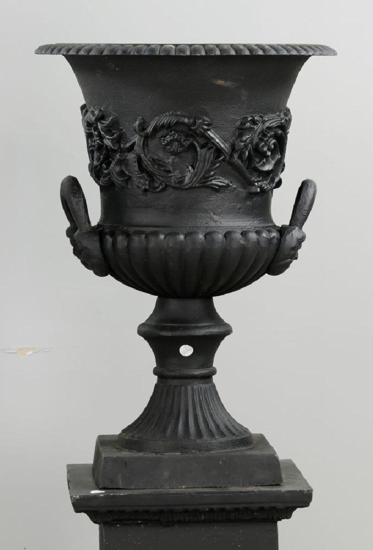Pr of Classical Cast Iron Urns on Pedestals, Black - 3