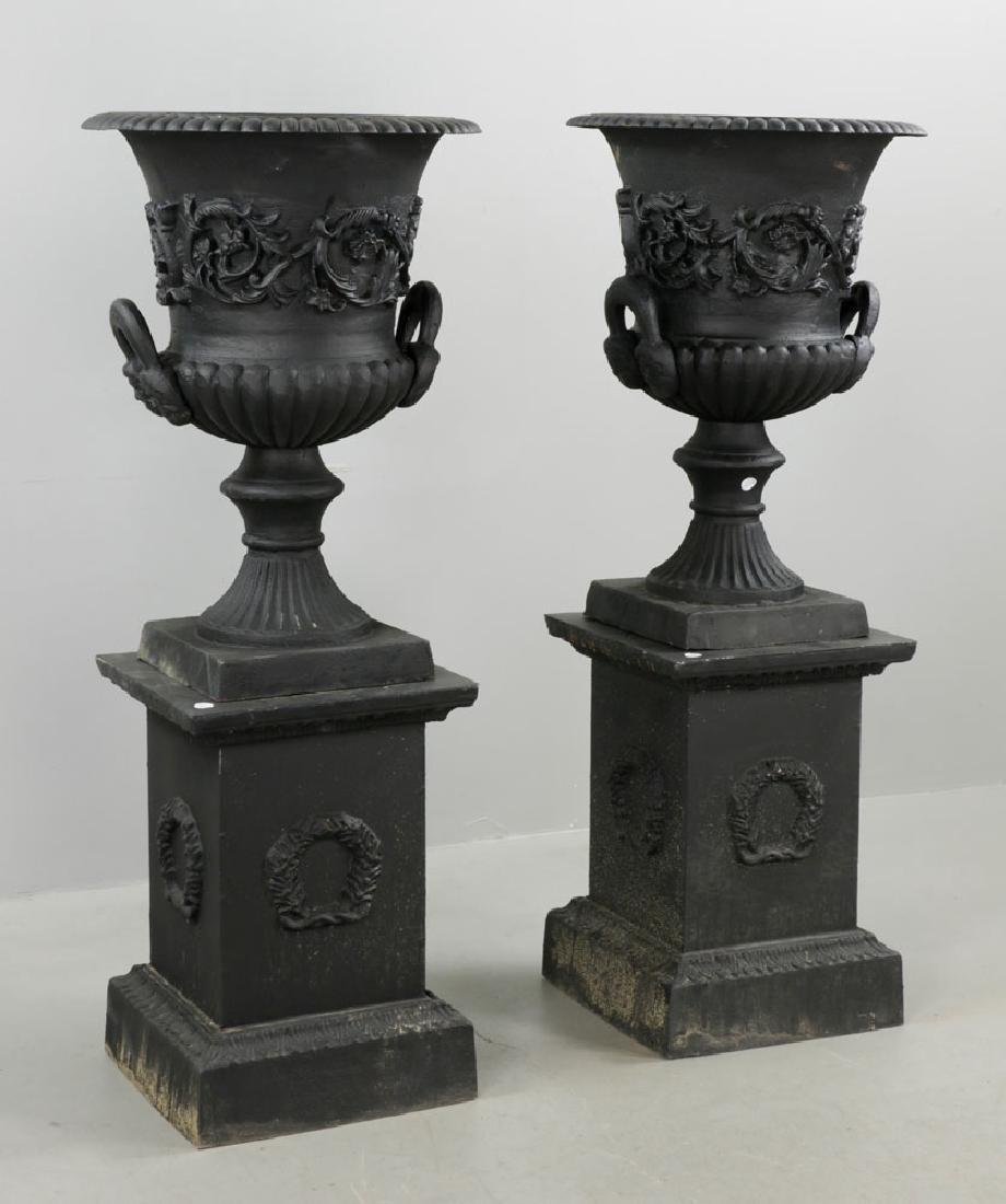 Pr of Classical Cast Iron Urns on Pedestals, Black - 4