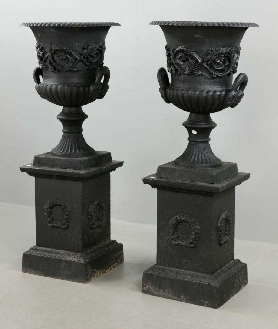 Pr of Classical Cast Iron Urns on Pedestals, Black - 5