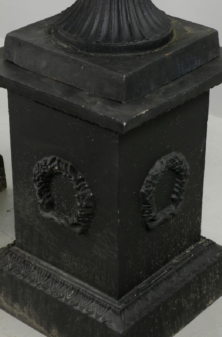 Pr of Classical Cast Iron Urns on Pedestals, Black - 6