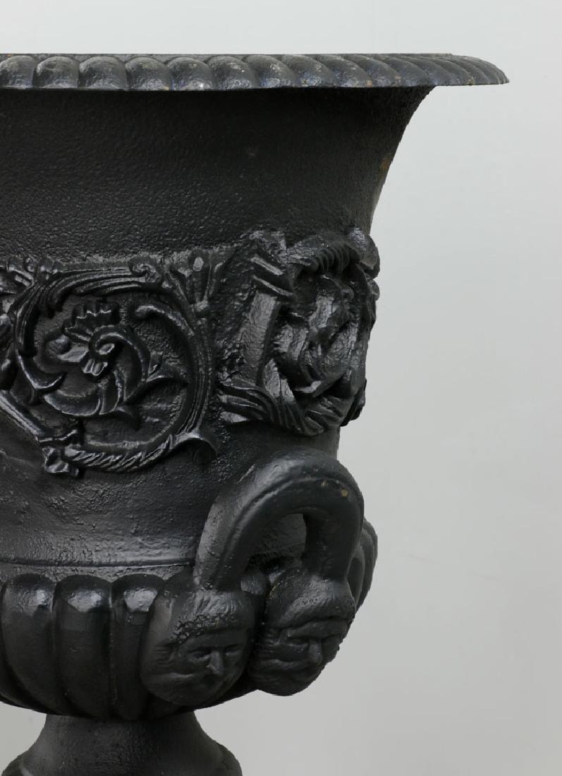 Pr of Classical Cast Iron Urns on Pedestals, Black - 7
