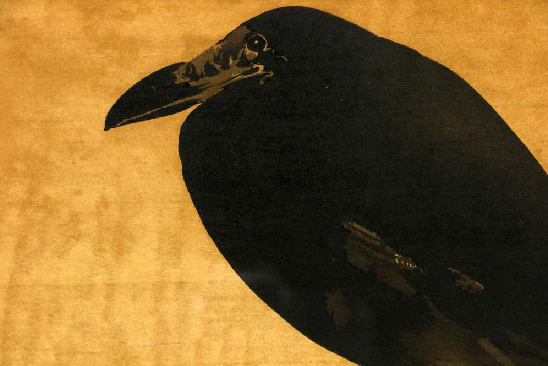Antique Japanese Watercolor of Raven - 3