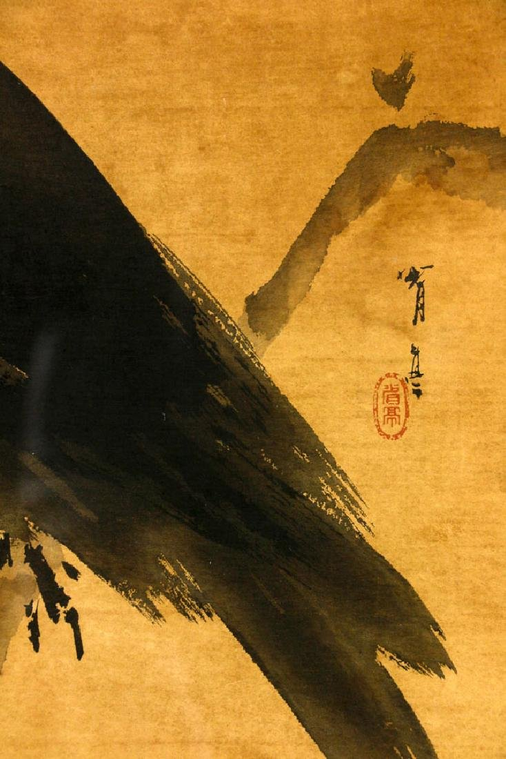 Antique Japanese Watercolor of Raven - 4