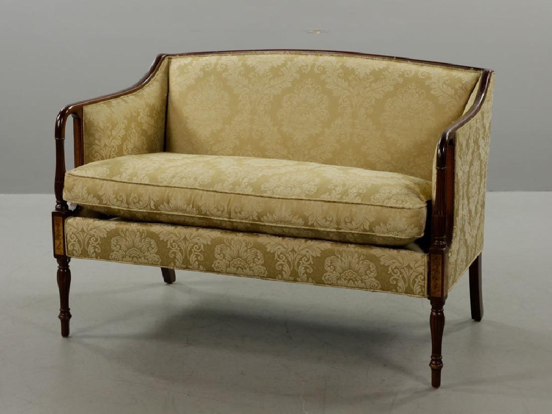 Sheraton Style Mahogany Sofa, Yellow/Gold