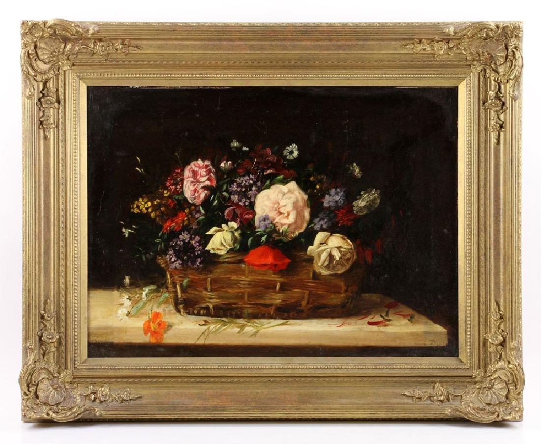 19th C. French Still Life of Flower, Oil