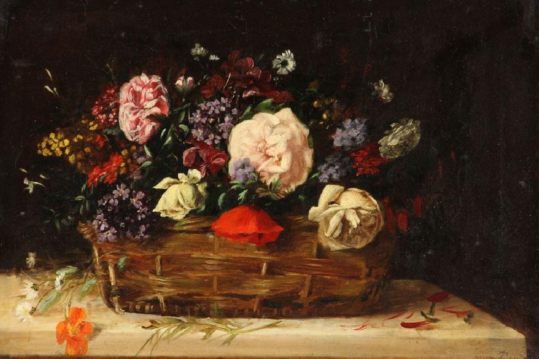 19th C. French Still Life of Flower, Oil - 2