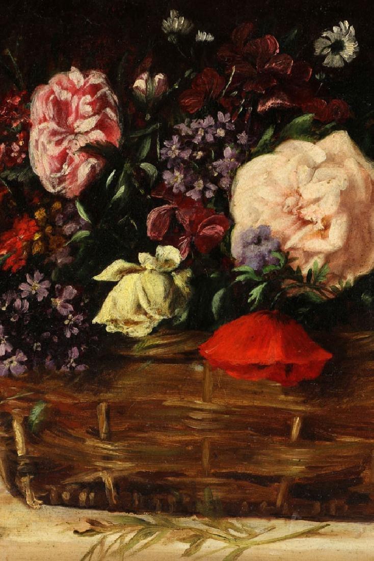19th C. French Still Life of Flower, Oil - 4