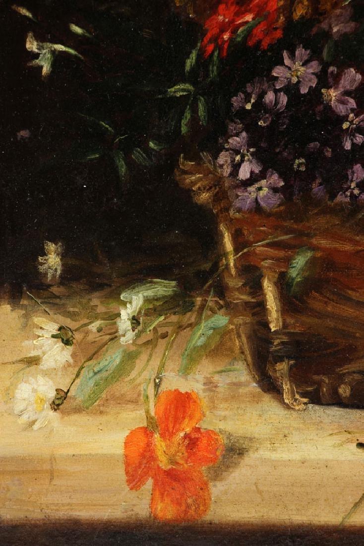 19th C. French Still Life of Flower, Oil - 5