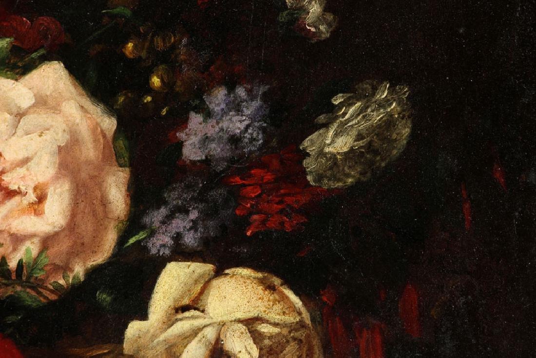 19th C. French Still Life of Flower, Oil - 6