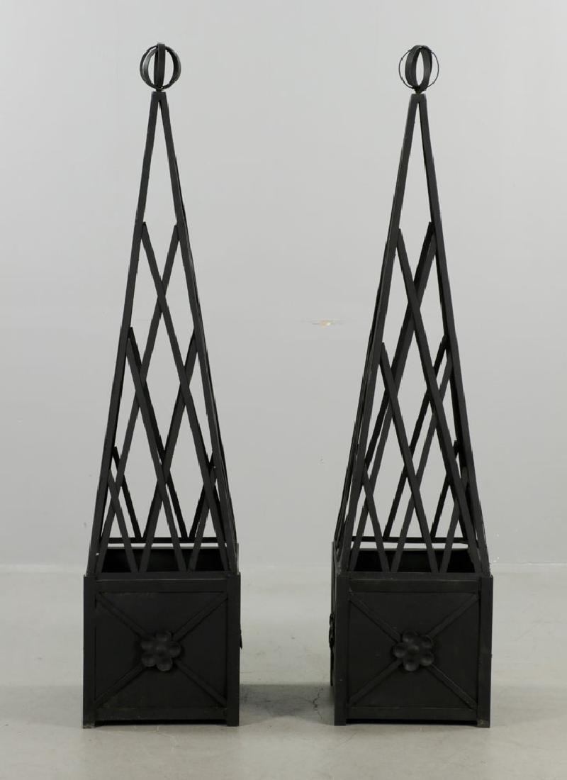 Pr of Iron Topiary, Black, Small Size - 2