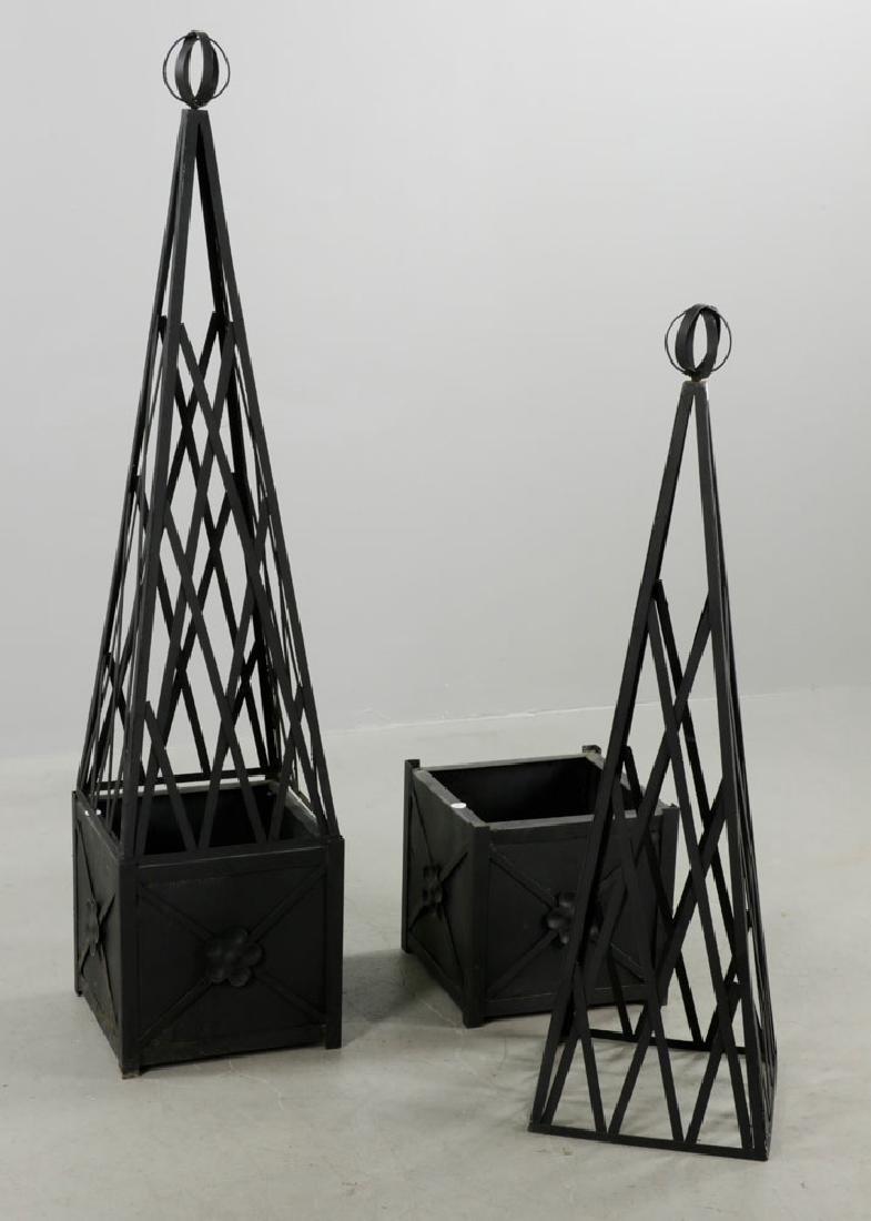 Pr of Iron Topiary, Black, Small Size - 3