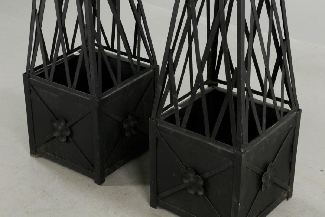 Pr of Iron Topiary, Black, Small Size - 4