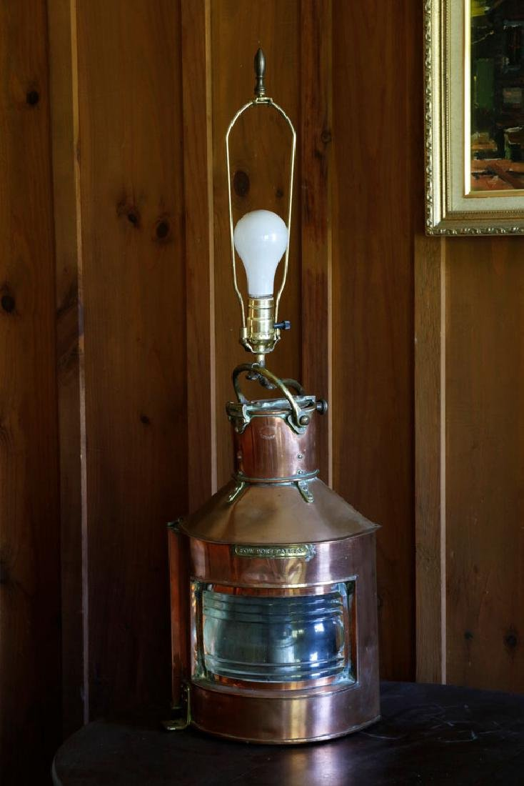 Late 19th C. English Copper Ship's Lantern Lamp - 2