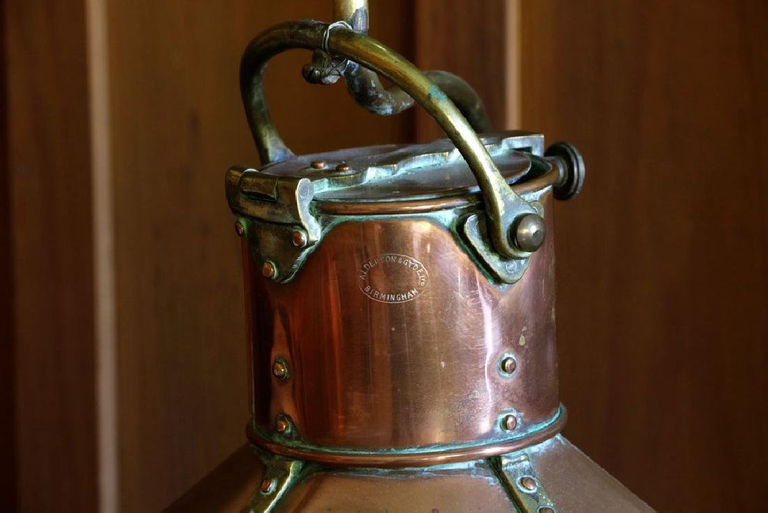 Late 19th C. English Copper Ship's Lantern Lamp - 4