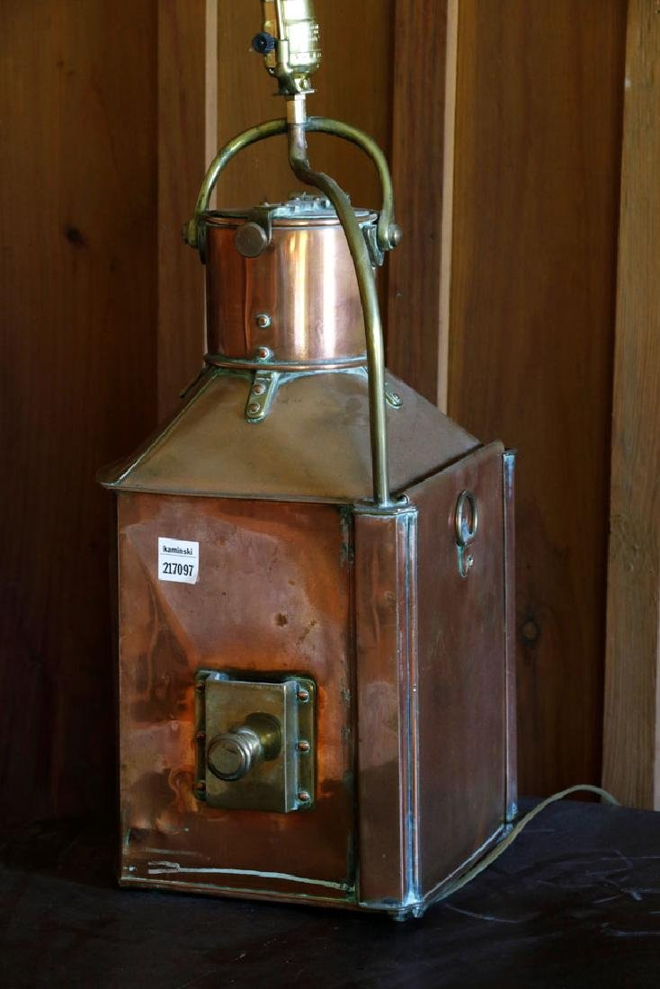 Late 19th C. English Copper Ship's Lantern Lamp - 5