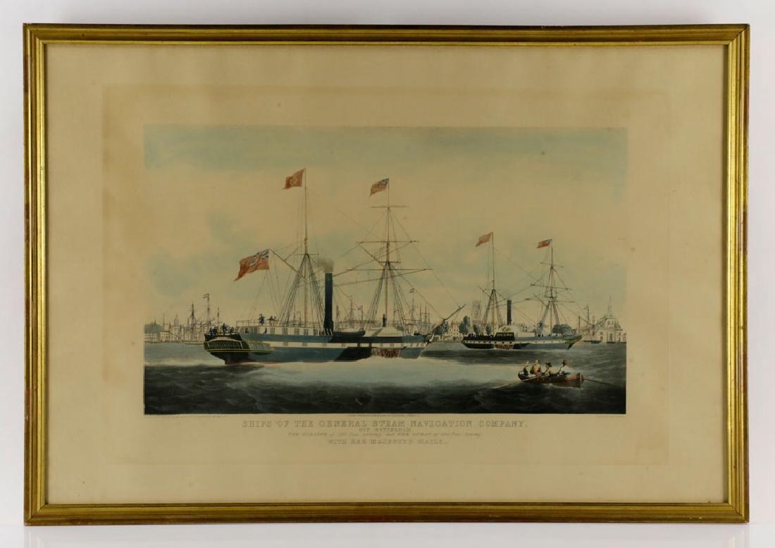 W.J. Huggins Marine Handcolored Print