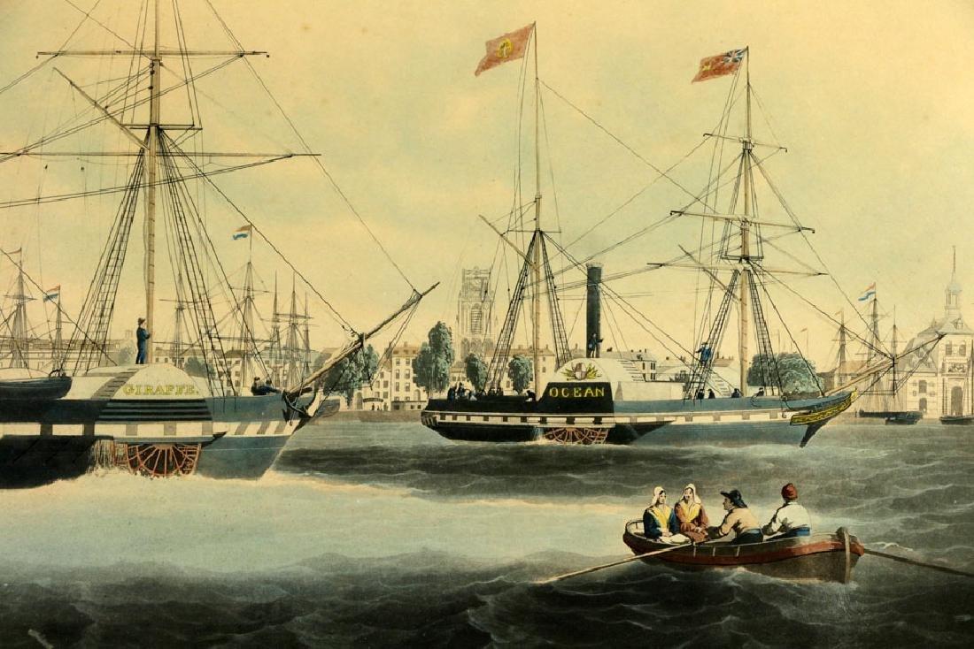W.J. Huggins Marine Handcolored Print - 3