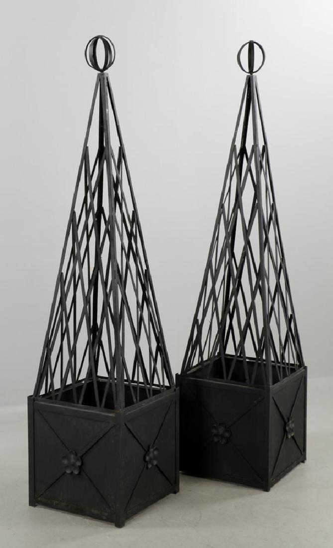 Pr of of Iron Topiary, Black, Medium Size - 2