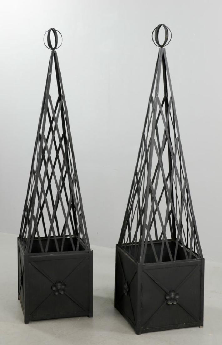 Pr of of Iron Topiary, Black, Medium Size - 3